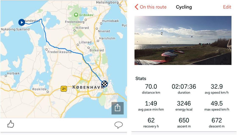 Cykelruten som Lars cykler på arbejde